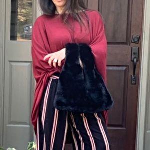 Handbags - PARIS Black faux fur bag